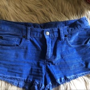 Roxy royal blue short corduroy cut-off shorts